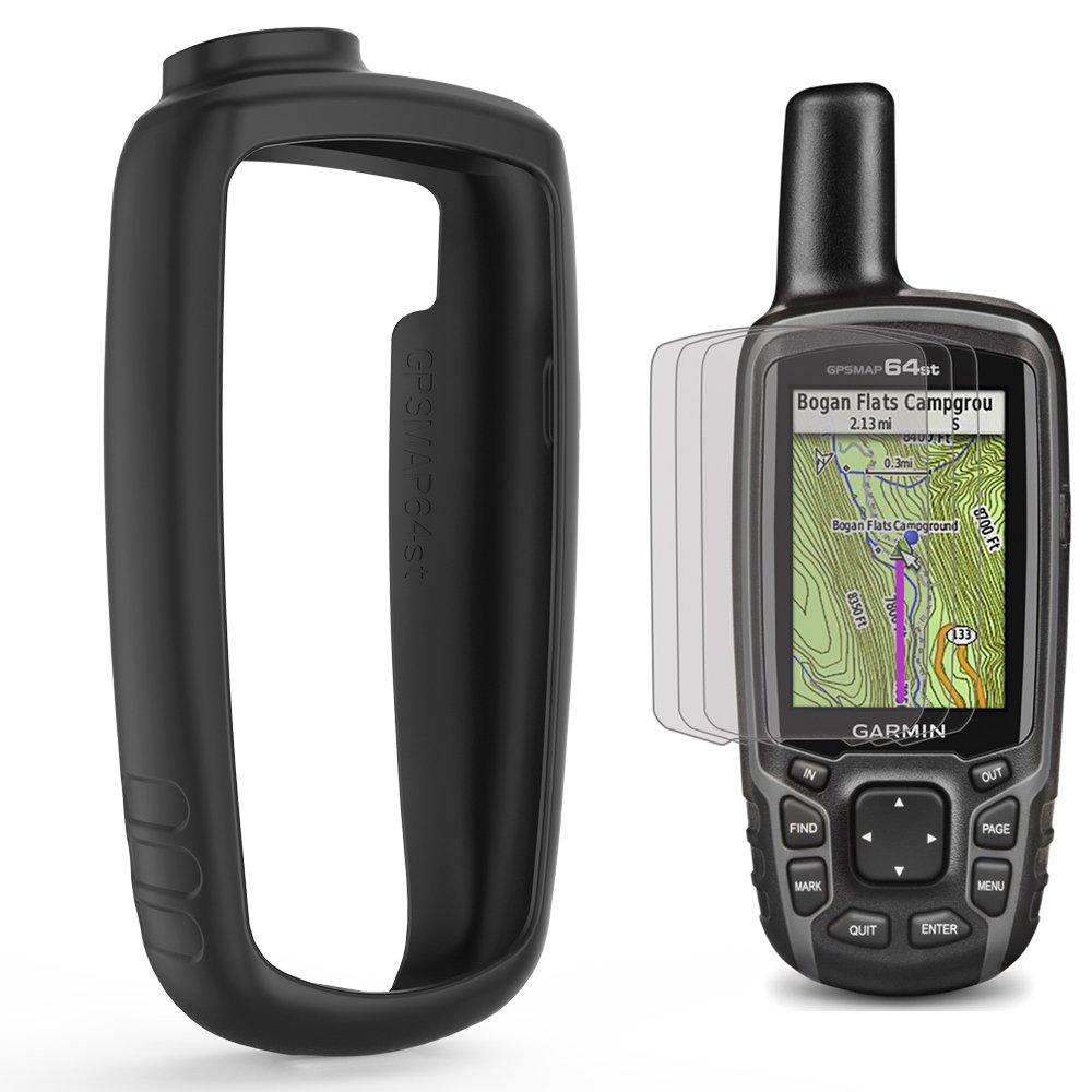 TUSITA Cas de avec Protecteur d'écran pour Garmin GPSMAP 62 62s 62st 62sc 62stc 64 64s 64st 64sc - Peau protectrice de Couverture Silicone Case Cover - Accessoires extérieurs portatifs navigateur GPS