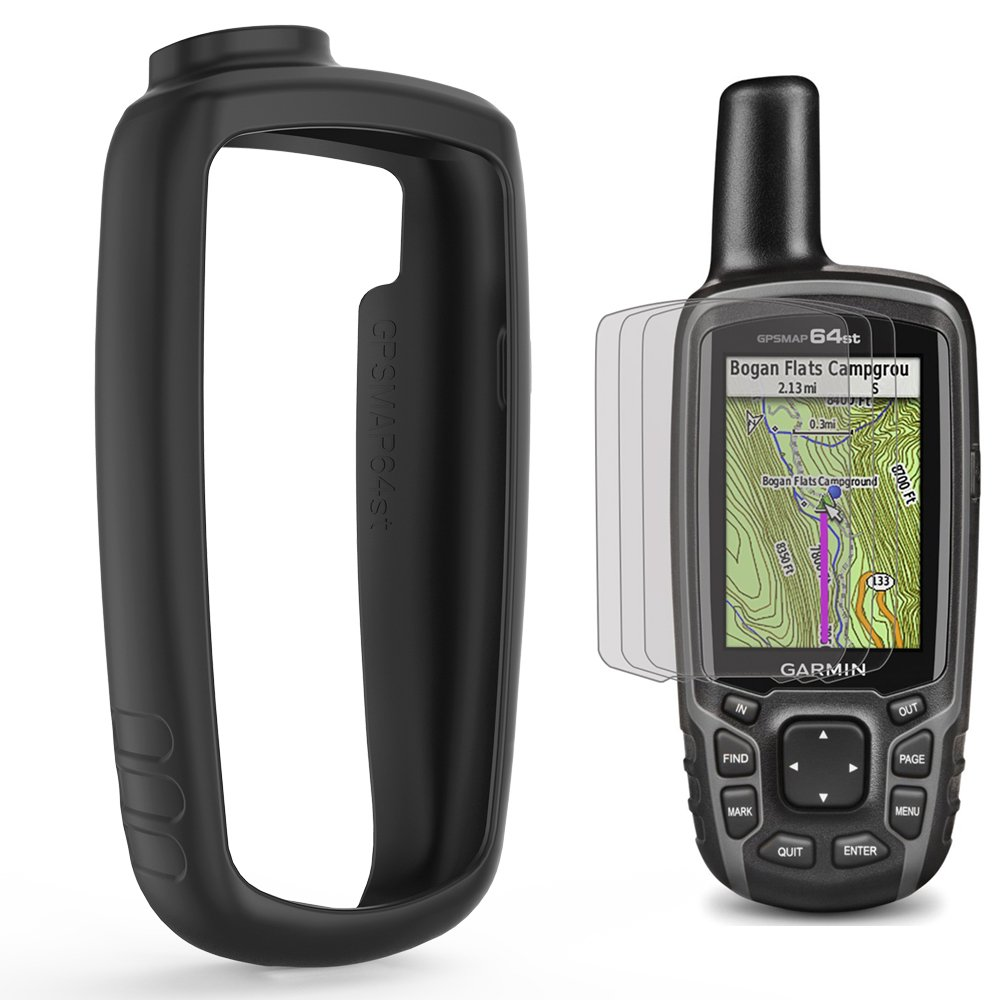 TUSITA Case with Screen Protector for Garmin GPSMAP 62 62s 62st 62sc 62stc 64 64s 64st 64sc - Silicone Protective Skin Cover - Handheld GPS Navigator Accessories (Black)