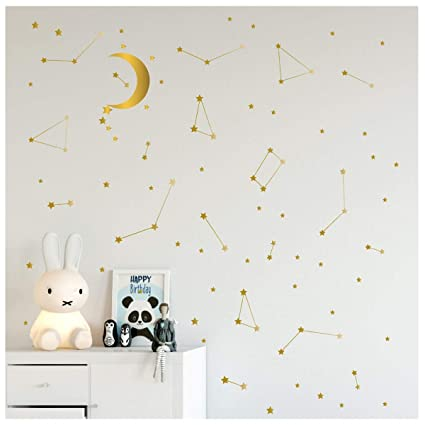 Amazon.com: Melissalove 190 Gold Star Constellation with Big Moon ...