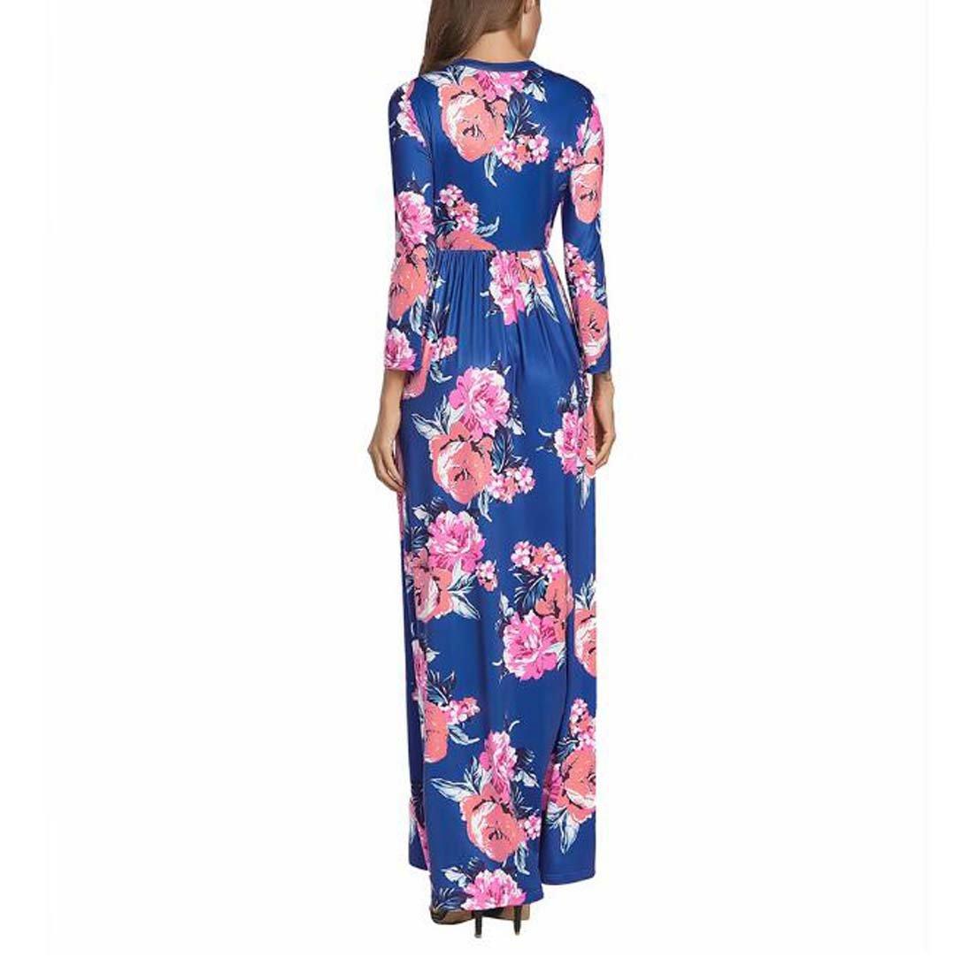 Vestido de Boho de manga larga con estampado floral de una línea de mujeres vestido de fiesta de noche largo vestido maxi largo: Amazon.es: Deportes y aire ...