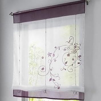 Amazon.de: Souarts Lila Stickblume Gardine Raffgardinen Vorhang ...