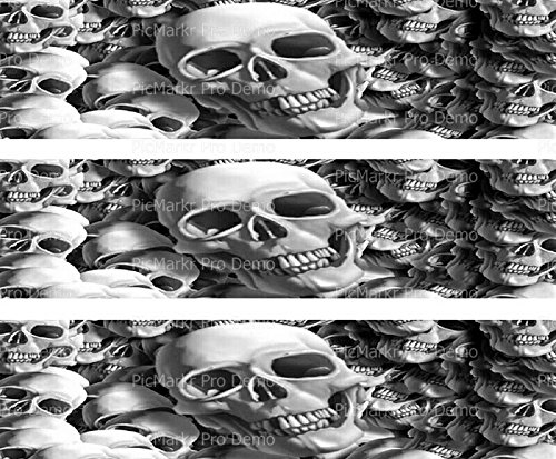 Halloween Skulls - Designer Strips - Edible Cake Side Toppers - -