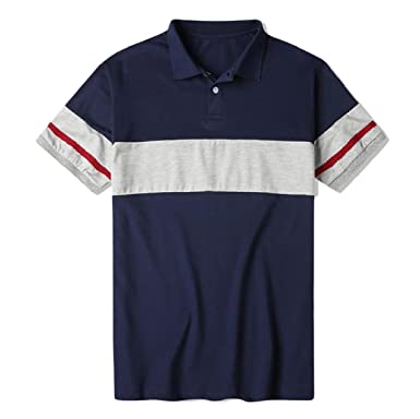 Coolred-Men Short-Sleeve Stitch Summer Fit Stylish Regular Thin Polo Shirt  Dark Blue 62ba61aa5184