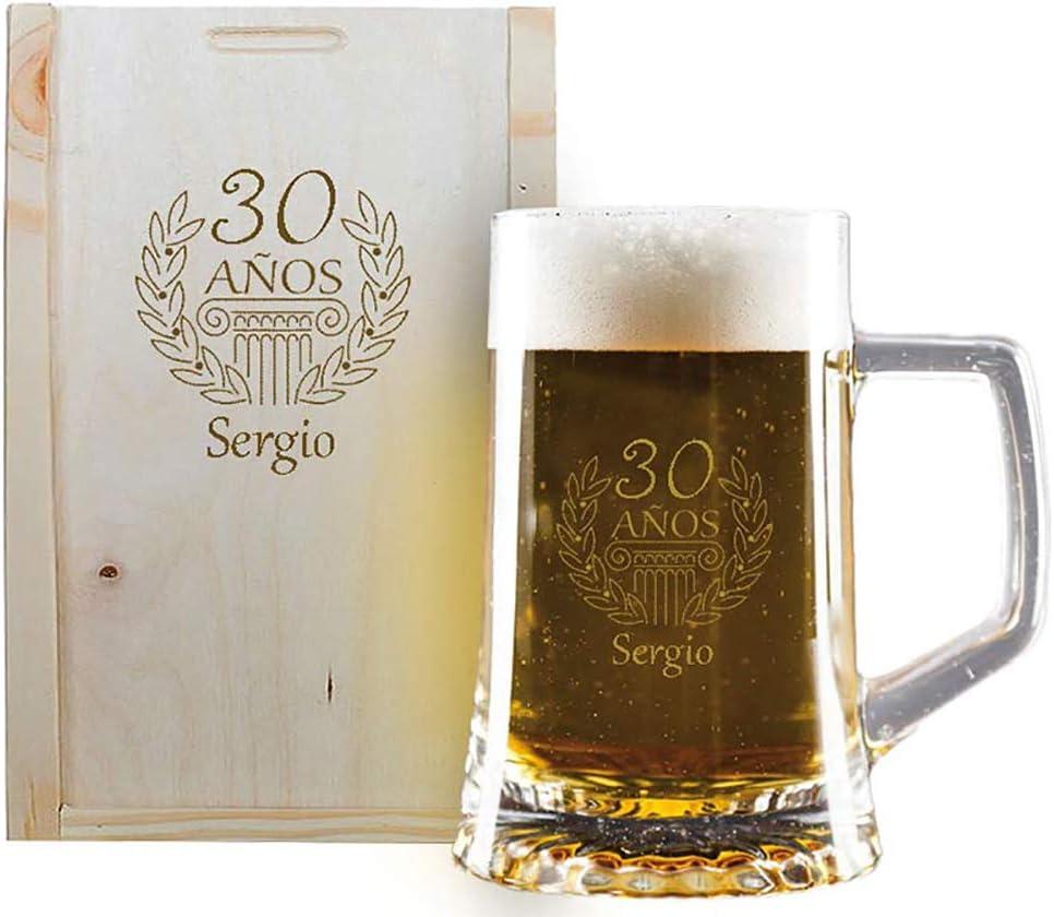 Calledelregalo Regalo de cumpleaños Personalizado: Jarra de Cerveza grabada con su Nombre y año de Nacimiento en Estuche de Madera también Grabado