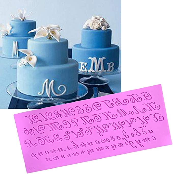argilla polimerica decorazione per torte cupcake GuanjunLI Stampo in silicone 3D artistico a forma di lettera russa per pasta di zucchero cera e sapone