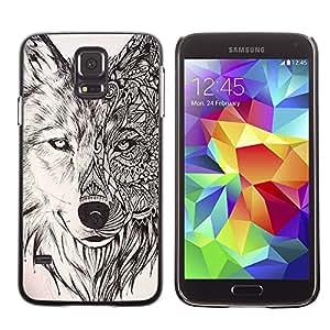 Planetar® ( Wolf Hound Dog Pencil Pattern Mystical ) SAMSUNG Galaxy S5 V / i9600 / SM-G900F / SM-G900M / SM-G900A / SM-G900T / SM-G900W8 Fundas Cover Cubre Hard Case Cover