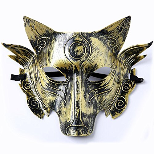 QINJH Masquerade Mask Wolf Mask for Halloween Party (Grey Gold) (Gold)