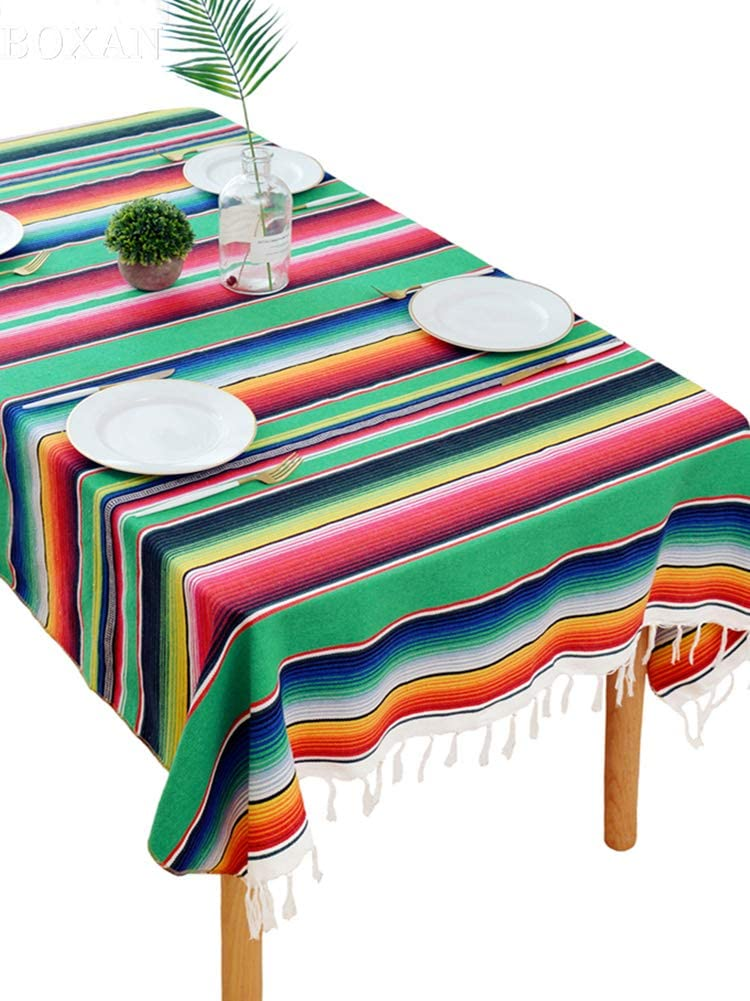 BOXAN Festive Green Mexican Blanket Tablecloth for Chic Wedding Bridal Shower Decoration, Mexican Saltillo Fiesta Serape Overlay for Saint Patricks Day Mexico Outdoor Home Birthday Decor, 59 x 84 inch