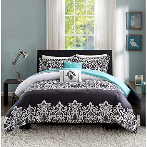 Teen Girl Bedding Damask Girls Comforter Black White Aqua Teal Full Queen SUPER SET + GORGEOUS Throw Pillows + Shams & Home Style Sleep Mask Bed Bedspread Sets for Kids Teenage Teens Floral Medallion (Full Bed Sets For Teenage Girls)