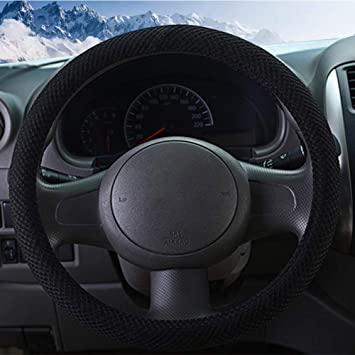 Odorless Warm in Winter and Cool in Summer Anti-Slip Black Breathable ZHOL Universal 15 inch Steering Wheel Cover