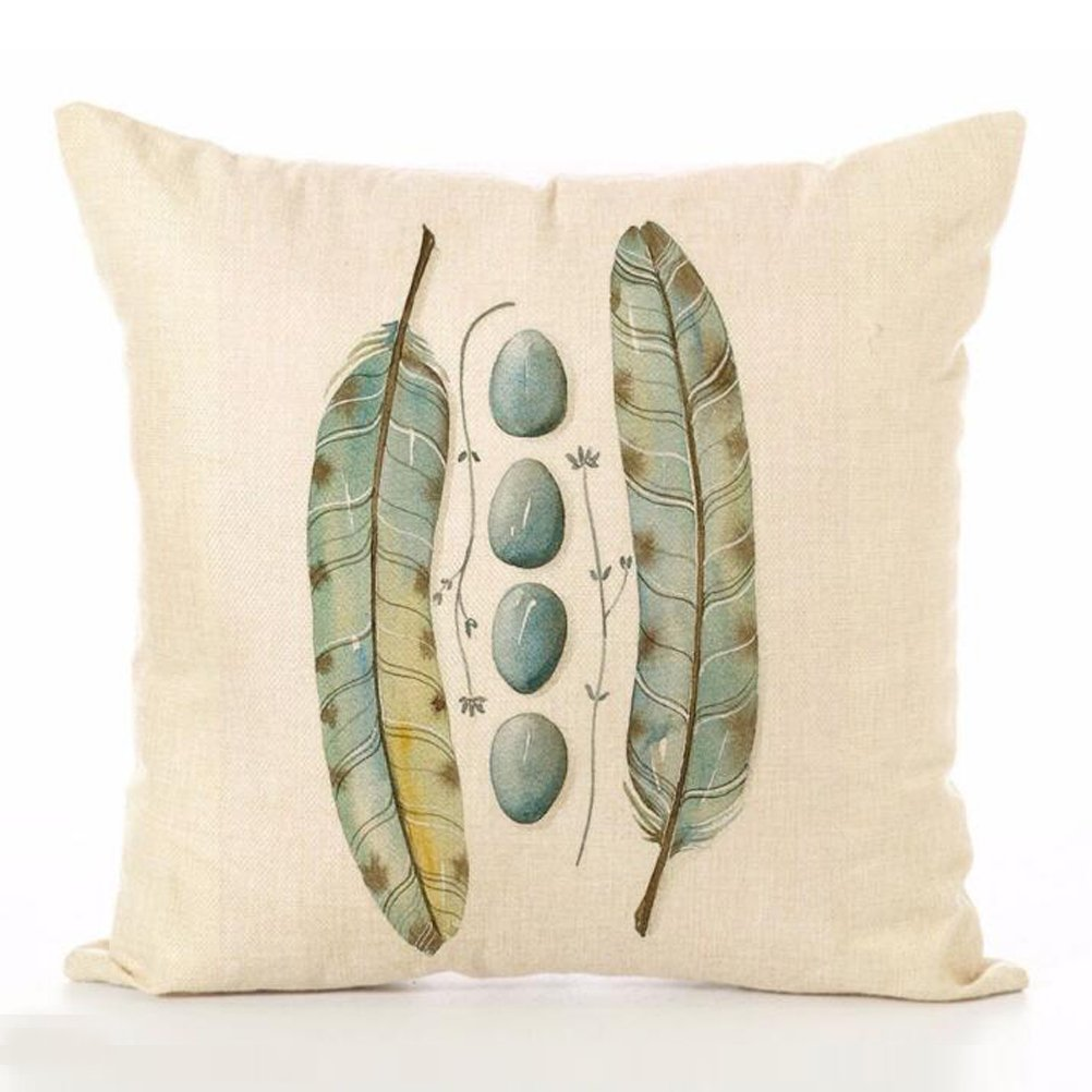 Cotton Linen Throw Pillow Case U-LOVE Feathers Print Square Cushion Cover 18 X 18 Inch Pillow ,4 pack by U-LOVE (Image #5)