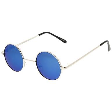 Cyber ronde John Lennon glasses miroir goggles de soleil des Lunettes de Steampunk Antique Copper (Blue) vEoqGMB