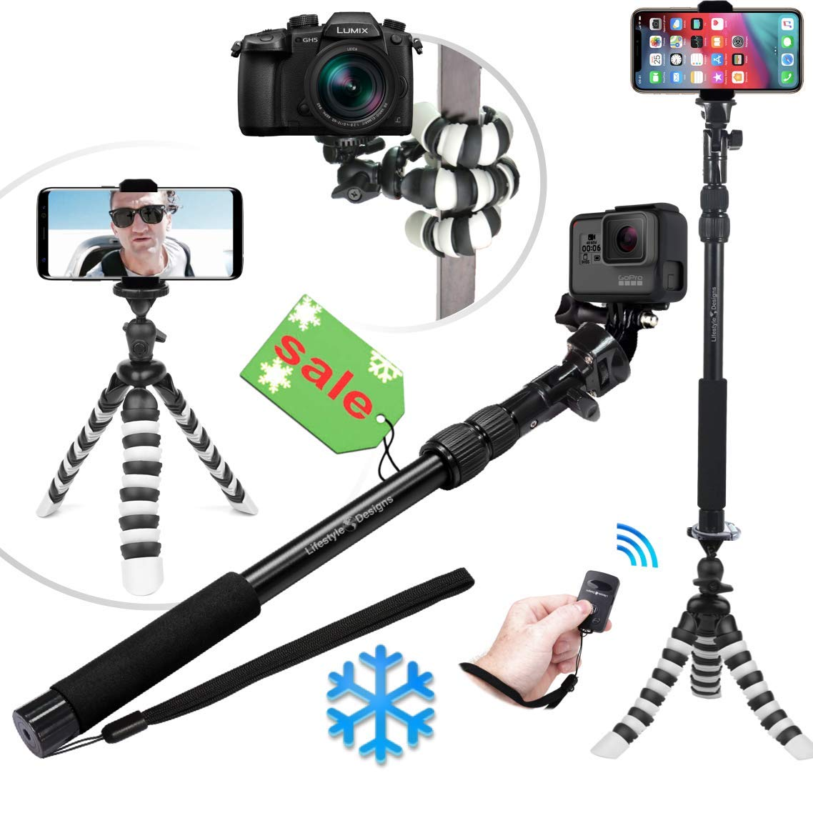 NEW HD Flexible Tripod & Selfie Stick 6-in-1 Kit w/ Bluetooth Remote – Best Video & Vlog Stand for Any Phone, GoPro or Camera: iPhone XS Max / XS / X / 8 / 7 / 6 / Plus, Samsung S9, Hero 7, etc. Lifestyle Designs IQ-V02L-0HMM
