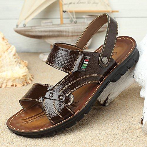 Verano Dermal Sandalias Ventilación Ocio Playa zapatos Sandalias Ocio, Marrón, Reino Unido = 9,5, EU = 44