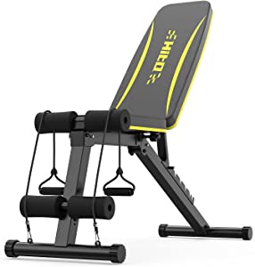 Adjustable Weight Bench for Full Body Exercise, Foldable Strength Training Bench Press with Resistance Bands for Home Gym & body workout