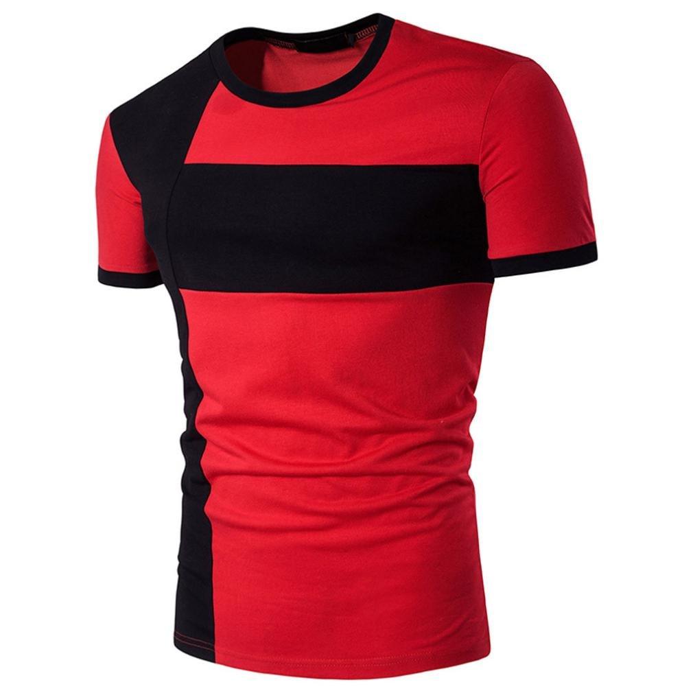 Elogoog Men Shirts, Men's Short Sleeve Slim Fit Casual Color Block Patchwork T-Shirts Lightweight Cozy Blouse (Red, XL)