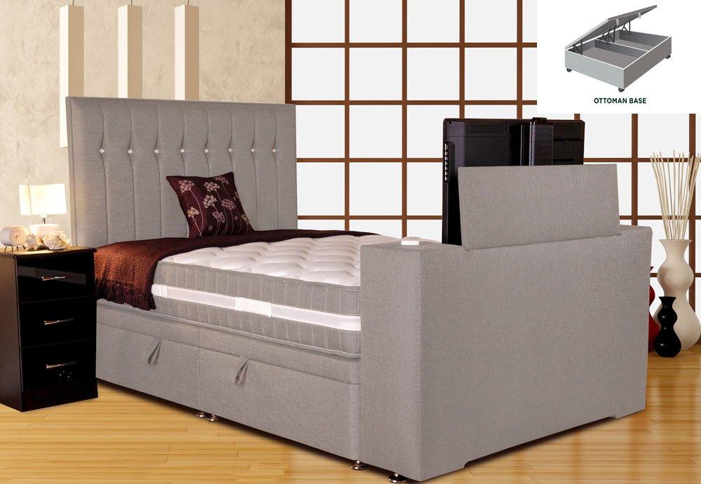 Tremendous Sparkle Divan Tv Bed Silver Mist King Size 5Ft Platform Top Ottoman Base Andrewgaddart Wooden Chair Designs For Living Room Andrewgaddartcom