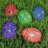 Set of 5 Wooden Ukrainian Pysanky Easter Eggs