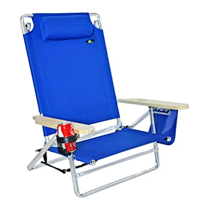 5 Position Platinum Lay Flat Beach Chair   Extra Tall Back W/ Drink Holder