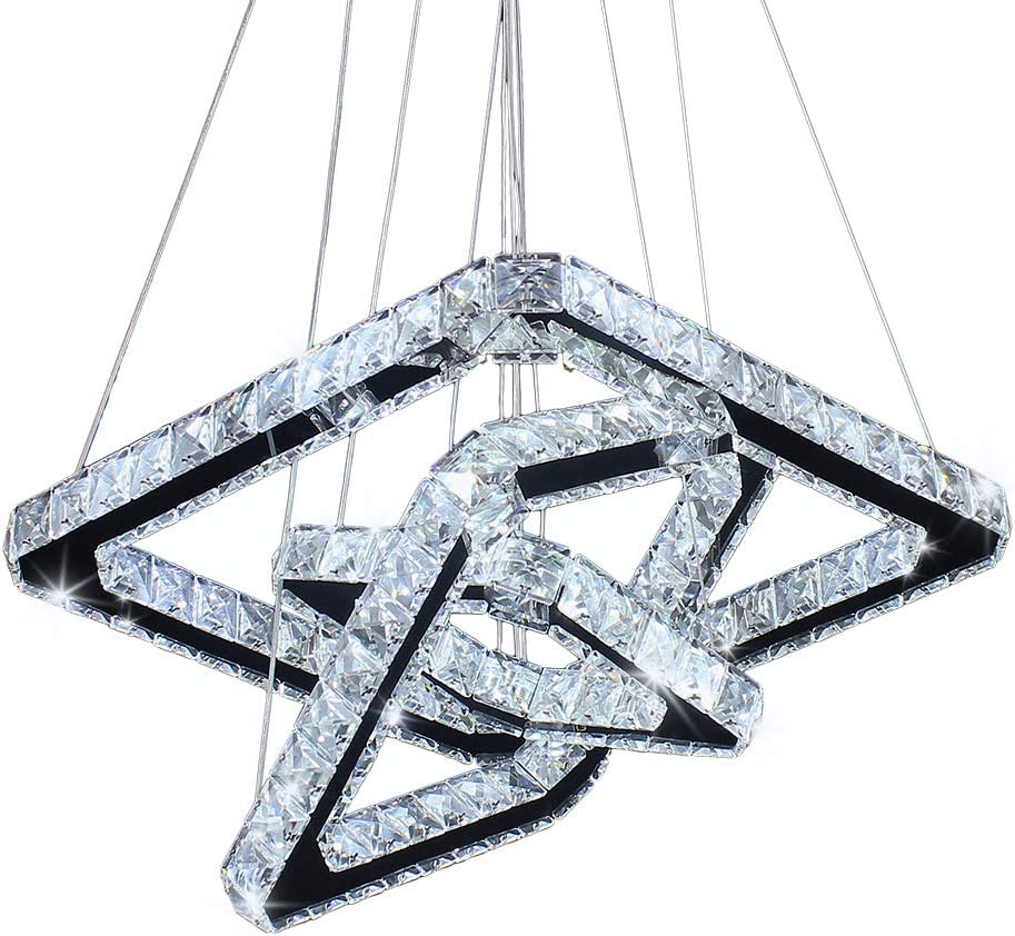 Modern Crystal Chandeliers LED Square Chandelier Pendant Lights Chandelier Pendant Light 8/12/16 inches Cool White(Cool Square20/30/40)