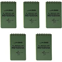 """All-Weather Top-Spiral Notebook 3"""" x 5"""" Green Cover Waterproof Shower Aqua Notes Notepad Notebook(5 Pack)"""