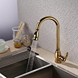 polished copper kitchen faucet KES Brass Bar Sink Faucet with Pull Down Sprayer Head Modern Single Tall Large Commercial Pullout Kitchen Faucet Sprayer Pulldown High Arc Gooseneck Polished Gold Finish, L6933-4