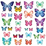 Decowall DW-1302 30 Vibrant Butterflies Kids Wall Stickers Wall Decals Peel and Stick Removable Wall Stickers for Kids Nursery Bedroom Living Room
