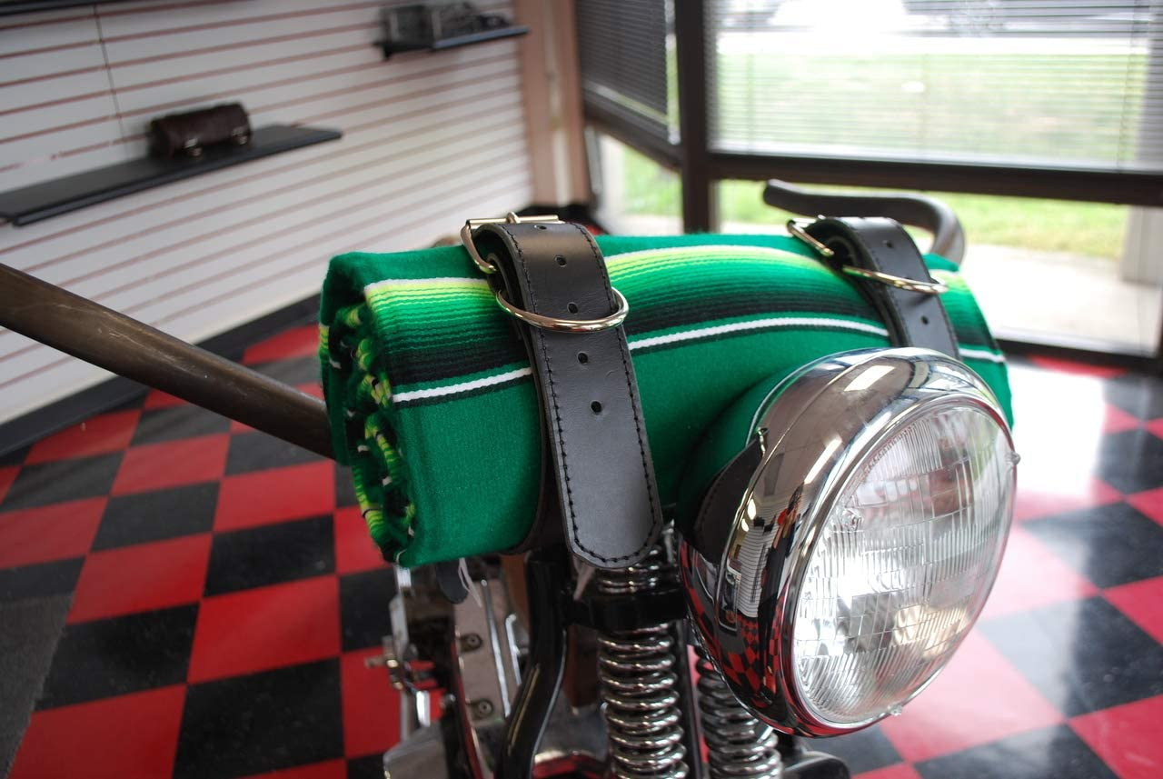 MOTORCYCLE Mexican Serape Roll-up Blanket with Black Leather Belts Bright Green