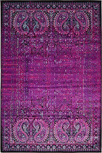 Luxury Modern Vintage Inspired Overdyed Area Rugs Lilac 4' x 6' FT Artis Designer Rug Colorful Craft Rugs and Carpet