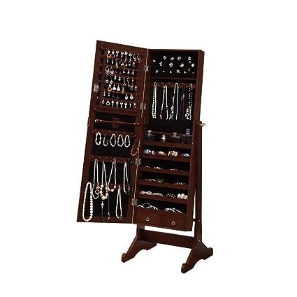 Amazoncom BTEXPERT Premium Cherry Cheval Mirror Jewelry Cabinet