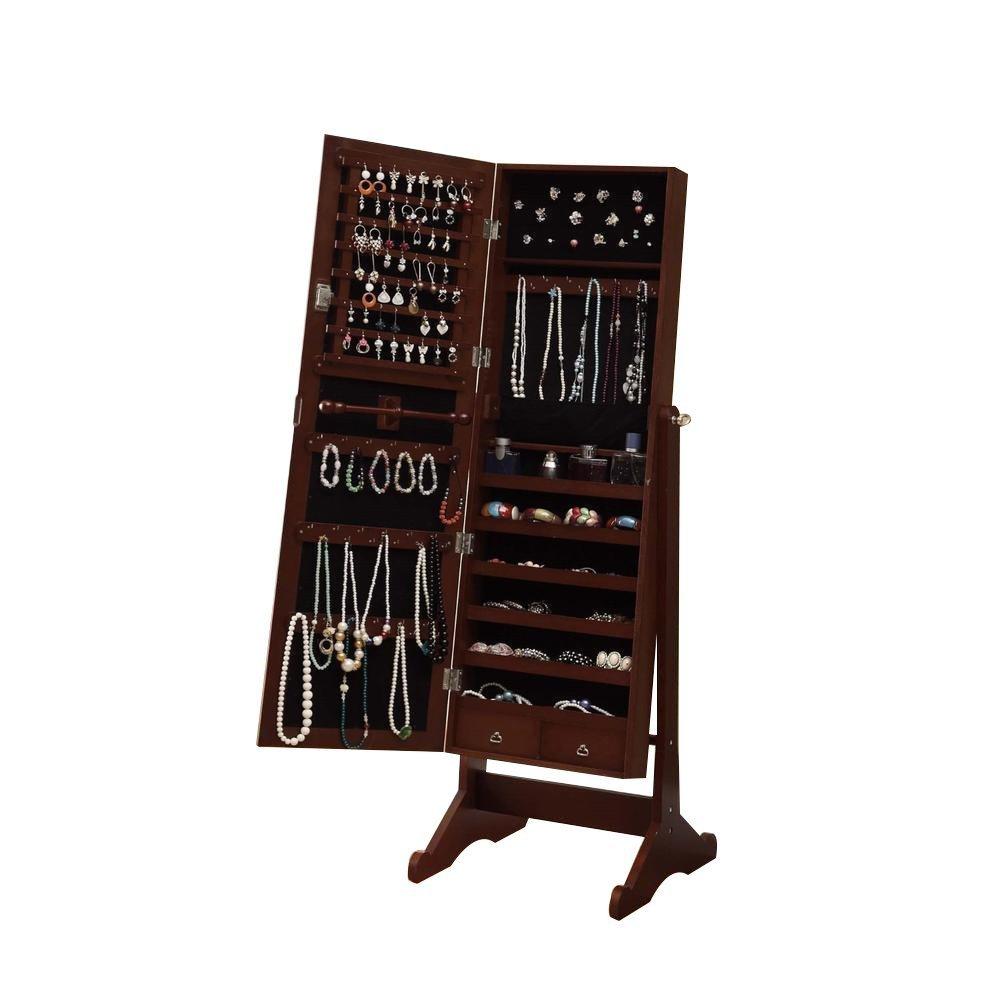 BTEXPERT Premium Cherry Cheval Mirror Jewelry Cabinet Armoire Box Stand Organizer Case