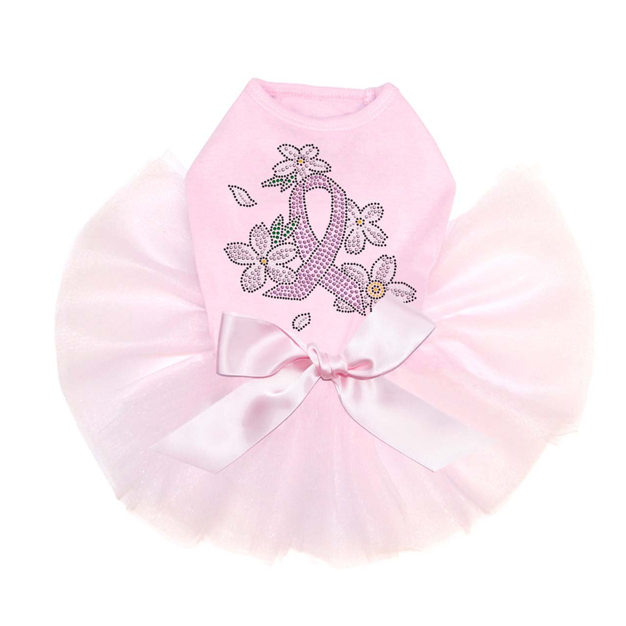 Pink Ribbon with Flowers - Bling Rhinestone Dog Tutu Dress, 3XL Pink