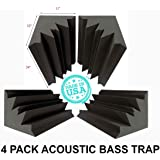"Set of 4 - Acoustic Foam Bass Trap Studio Soundproofing Corner Wall 12"" X 12"" X 24"""