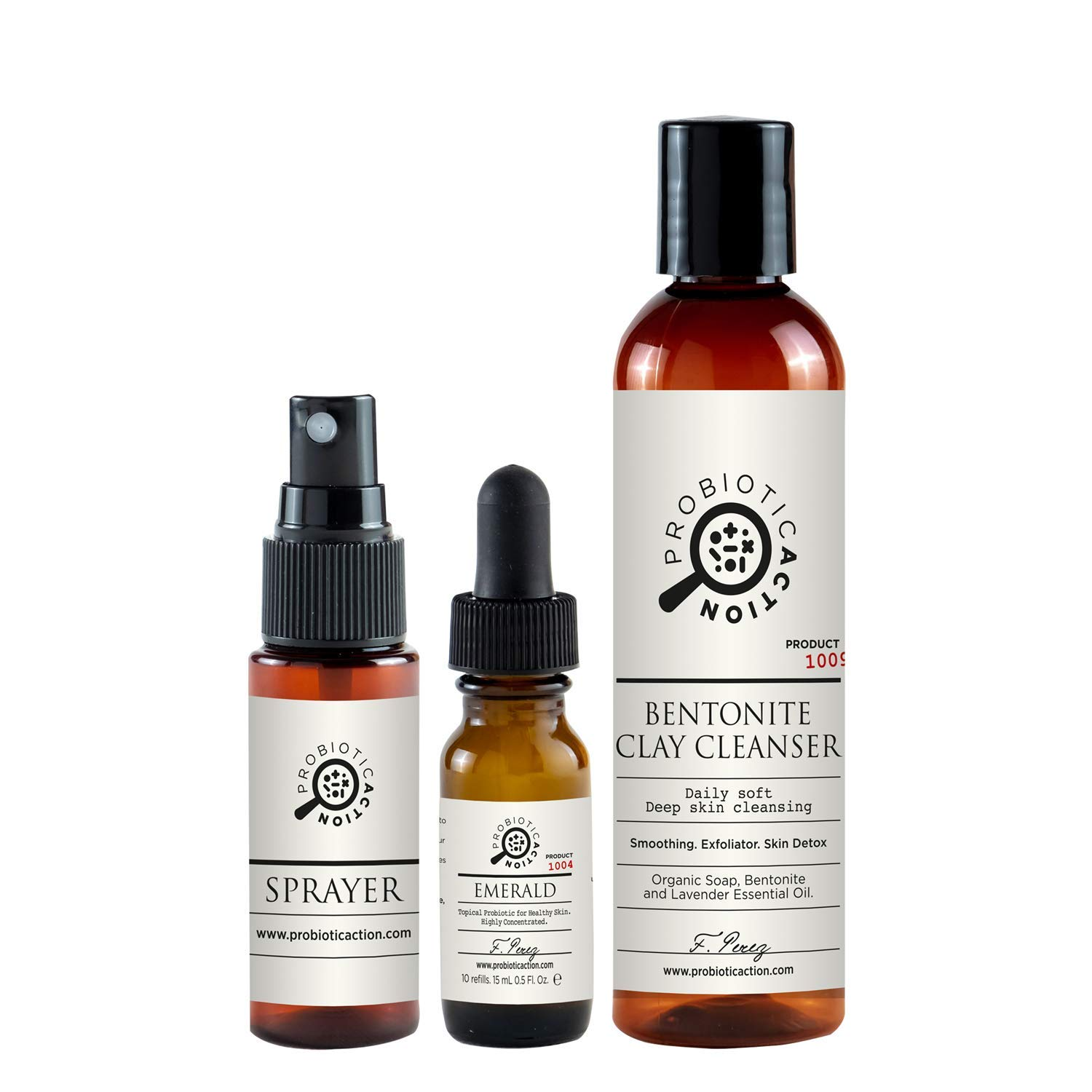 Organic Acne Treatment - Probiotic Action - 2 Steps - Bentonite Cleanser and Probiotic Spray Skincare