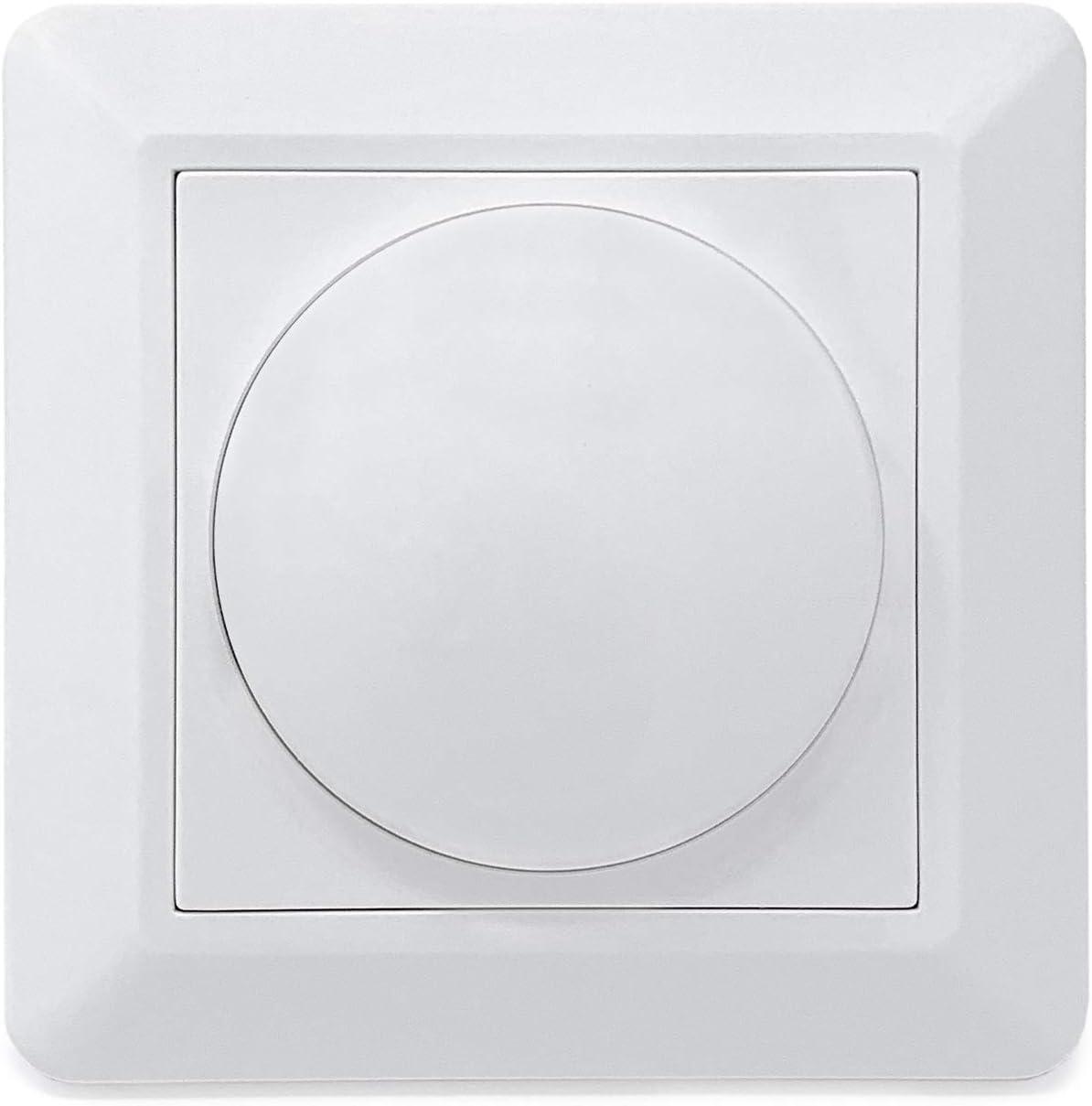 CROWN LED Regulador de intensidad con mando giratorio 230V + tornillos fijación, regulador giratorio empotrado blanco 3-100%, regulador con interruptor
