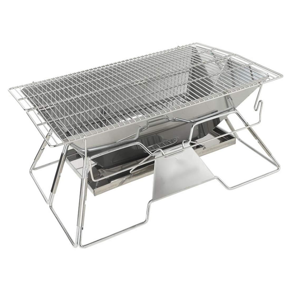 FELICIGG Großer faltender Grill-Edelstahl-Grill-Grill BBQ passend für Sieben zu acht Leuten (Größe : 49  34  26CM)