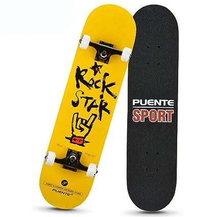 KD Scooter Niños Cuatro Ruedas Skate Cepillo Calle Camino Adulto Arce Skate Profesional Scooter Skate,