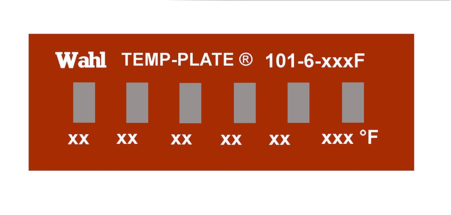 76-82-87-93-98-104 Degrees C Positions Box of 10 labels 1.16 Width x 0.38 Height Wahl 101-6-076C Mylar Mini Six-Position Temp-Plate