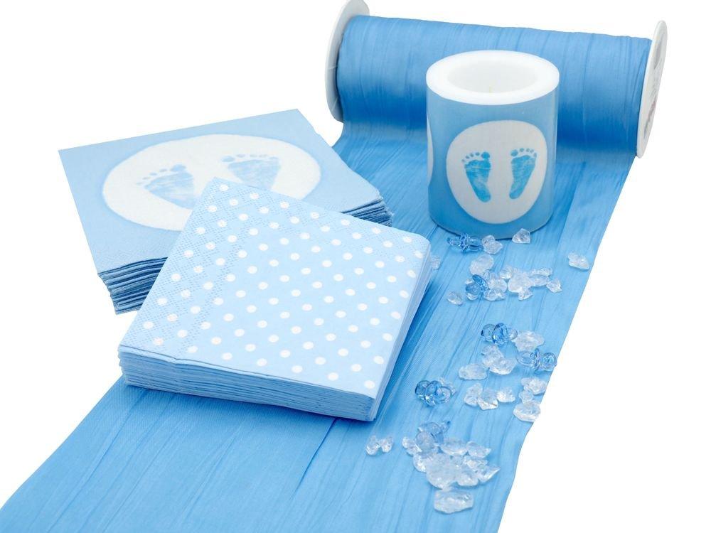 Tischdeko Taufe Blau Weiss Geburt Junge Baby Personen Set 20 Personen