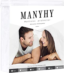 MANYHY Twin XL Mattress Pad Cover Protector Waterproof Cotton Premium Hypoallergenic Cooling Noiseless Mattress Topper Fit to 18'' Deep Pocket (Twin XL, 39''x 80'')