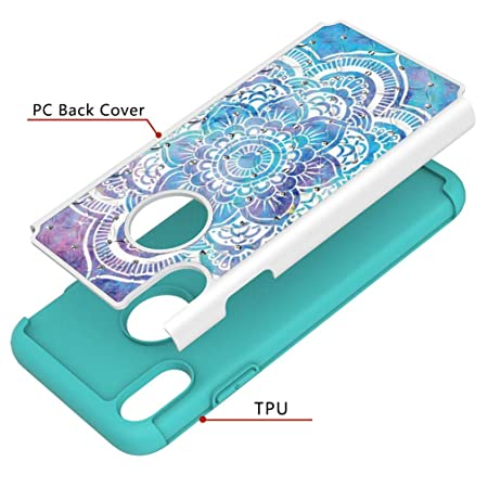 Amazon.com: iPhone XS Max Case,2 in 1 Hybrid Protective Case Inner Soft TPU Bumper Back Cover Hard PC with Creative Pattern & Point Drill Shockproof Case ...