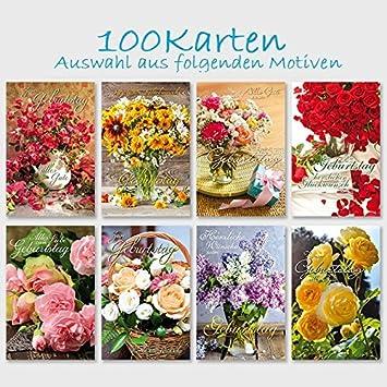 100 Gluckwunschkarten Geburtstag Blumenstrausse 11 5 X 17 5 Amazon