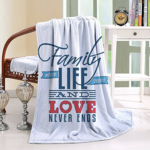 Opulence 9 Light (HAIXIA Throw Blanket Family Vintage Greeting Card Inspired with a Quote about Family and Love Black Light Blue Red)