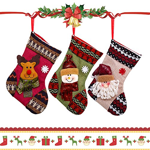 Christmas Stockings Gifts Tree Decoration 3D [Santa + Snowman + Reindeer], AYAMAYA 3 Sets of Big Personalized Christmas Stocking Embroidered Kids Candy Gifts Bag Xmas Ornaments Fireplace Hanging Décor