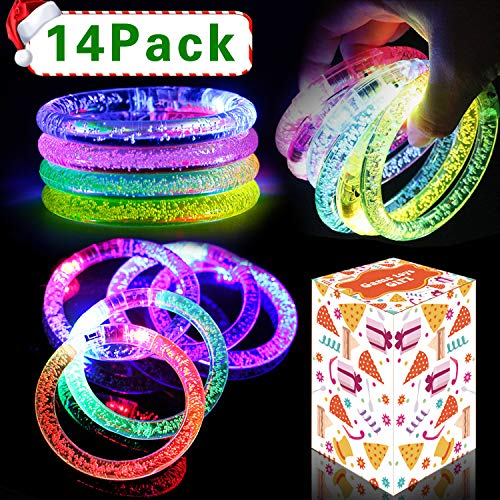 2019 New Year Eve 14Pack LED Light Up Bracelets Battery Operated Glow In The Dark Premium Fluorescence Sticks Multicolor Flashing Wristband for Bar Party Favors Supply Night Games Event