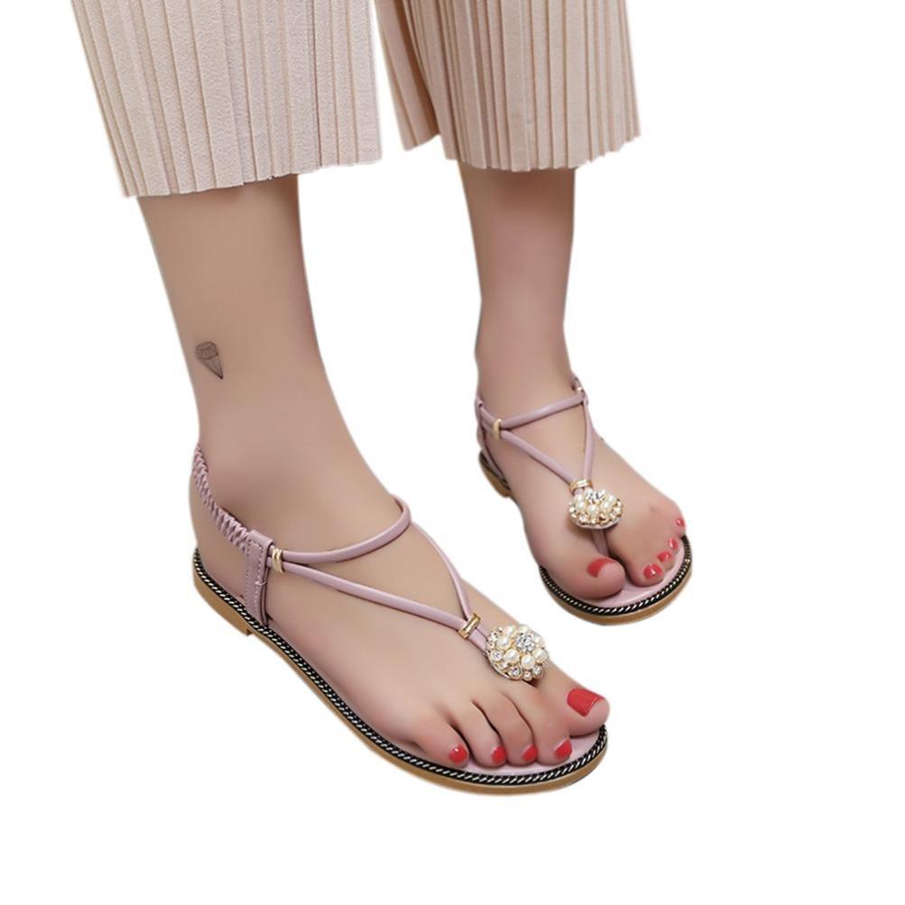 Honestyi ??Frauen Bohemian Pearl Sandalen Sommermode Diamant Sandalen Flache Sandalen Schuhe Transparente Starke Ferse Hochhackige Schuhe Sandalen34 EU Rosa