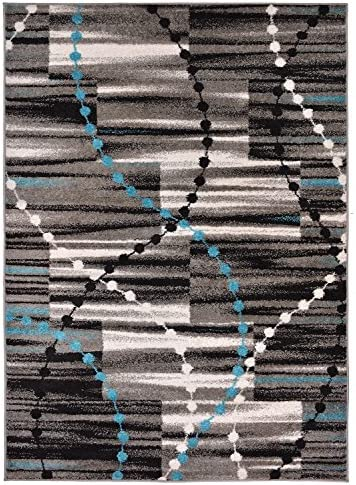 Designer Collection Stripes and Beads Design Contemporary Modern Area Rug Rugs 2 Different Color Options Turquoise Blue, 20 x31