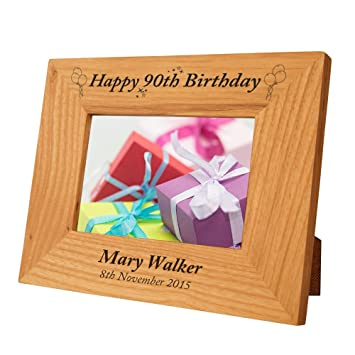 Personalised 90th Birthday Oak Frame Engraved Gift Idea For Her Special