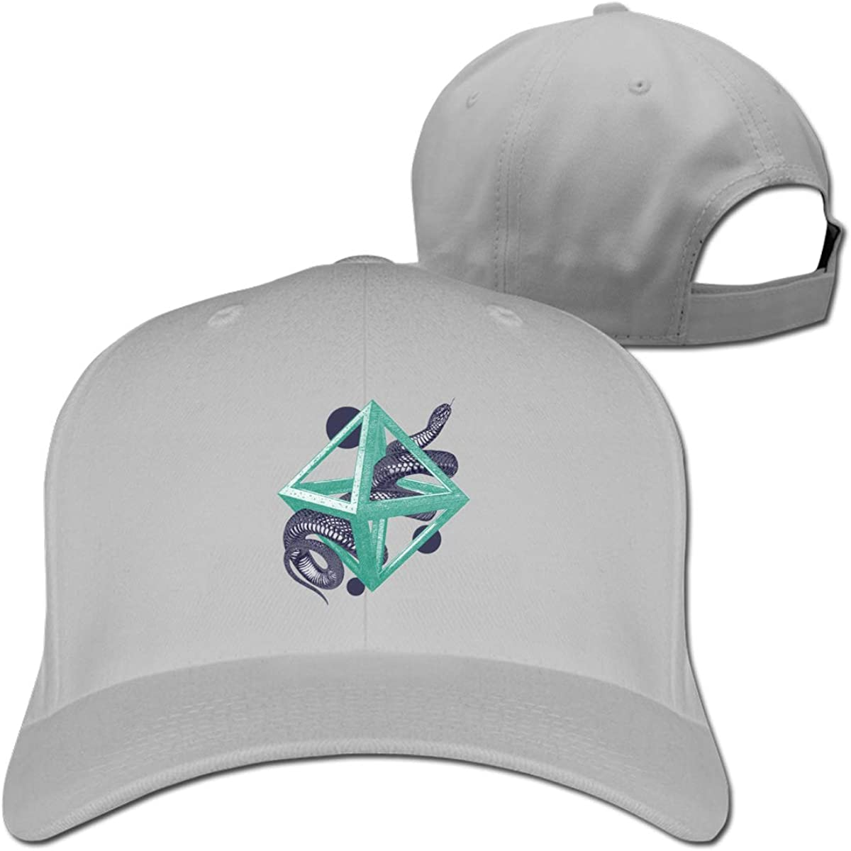Snake Geometry Fashion Adjustable Cotton Baseball Caps Trucker Driver Hat Outdoor Cap Gray