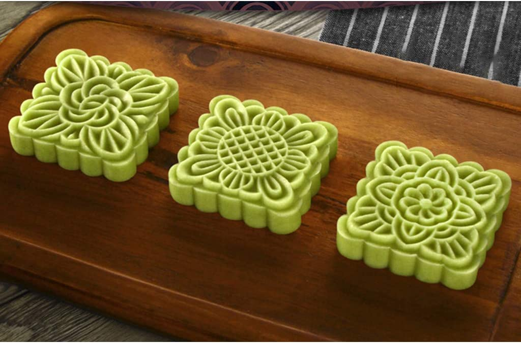 Mid-Autumn Festival Hand-Pressure Moon Cake Mould,QINYUAN,100g Mooncake Barrel Mold with 8pcs Square Flower Stamps Hand Press Pastry Mould DIY Bakeware